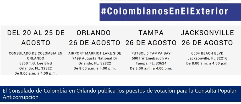 Consulado de Colombia en Orlando publica los puestos de votación para la Consulta Popular Anticorrupción