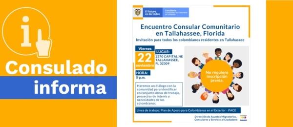 Consulado en Orlando invita a los colombianos a participar del Encuentro Consular Comunitario en Tallahassee