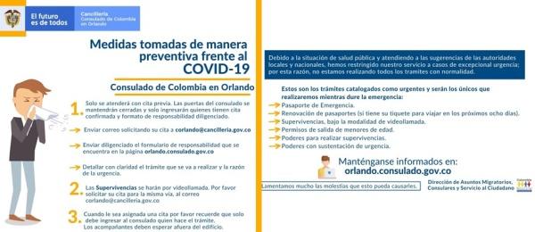 Medidas tomadas de manera preventiva por el Consulado de Colombia en Orlando frente al COVID