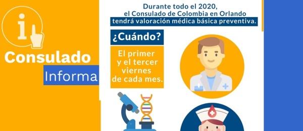 Consulado de Colombia en Orlando tendrá valoración médica básica permanente durante todo el 2020
