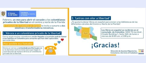 Consulado de Colombia en Orlando invita a abrir el corazón a los colombianos privados de la libertad en la Florida