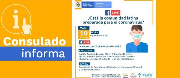 El Consulado de Colombia en Orlando invita a la charla ¿Está la comunidad latina preparada para el Coronavirus? el 10 de marzo de 2020