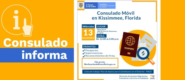 El Consulado de Colombia en Orlando realizará una jornada de Consulado Móvil en Kissimmee el 13 de noviembre de 2019
