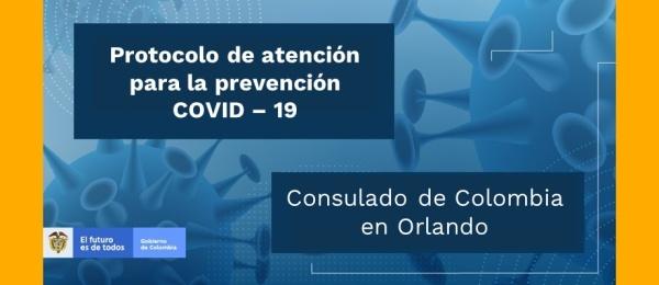Protocolo de atención del Consulado de Colombia en Orlando para prevención